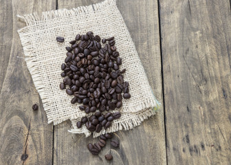 coffee beans on the wooden table