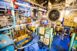 Engine room on a cargo boat ship, engine room on an oil platform - 78174104