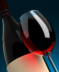 Wineglass and Bottle Closeup