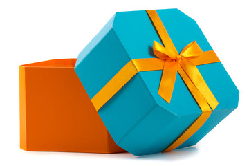 Open gift box with orange bow isolated on white