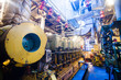 Engine room on a cargo boat ship, engine room on an oil platform - 78174359