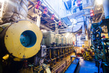 Engine room on a cargo boat ship, engine room on an oil platform