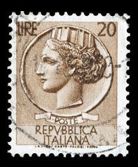 Italy postage stamp Turrita serie. 20 Lire