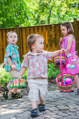 Children on an Easter Egg Hunt Outside