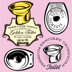 set of elements for making logos with toilet bowl