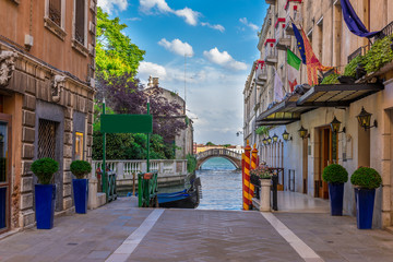 Embankment of Grand Canal in Venice. Italy