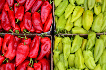 Red and green peppers