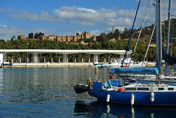 Málaga, panorámica, Puerto, Alcazaba, Andalucía