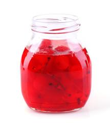 Homemade jar of red maraschino cherry isolated