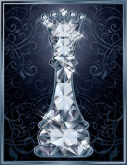 Diamond chess Queen card, vector illustration