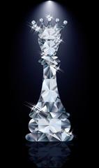 Diamond chess Queen, vector illustration