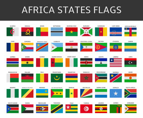 flag of africa states vector set
