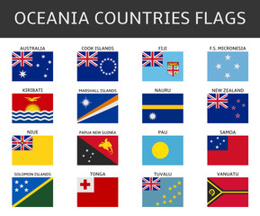 flag of oceania states vector set