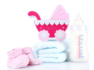 Baby equipment isolated on white