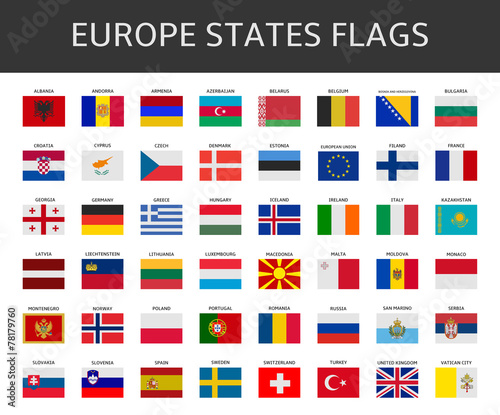 flag of europe states vector set - 78179760