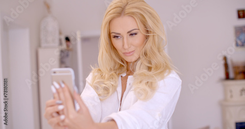 canvas print picture Gorgeous Blond Woman Taking Selfie Photo
