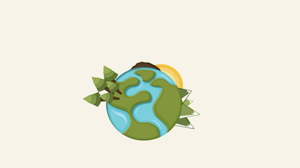 Earth with tree and plants Video animation, HD 1080