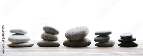 Spa stones on table on light background - 78180989