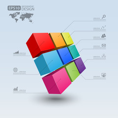 Business Infographics cube 3d,vector