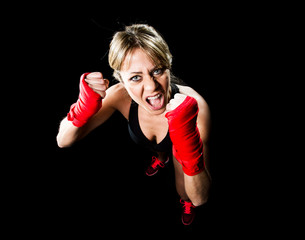 sexy girl training boxing fist wrapped fighting woman concept