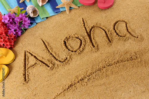 Foto op Canvas Strand Aloha beach writing