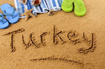Turkey beach writing
