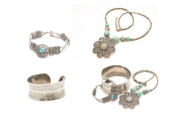 collection of silver jewelery