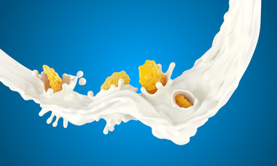 The falling corn flakes in milk splashes on a blue background
