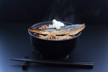 Japanese buckwheat noodles in hot soup