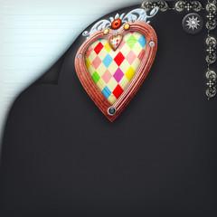 Ornamental velvet background with colourful heart