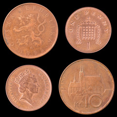 Obverse and Reverse Coin of Great Britain, Czech Republic.