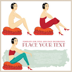 Vector illustration. Girl in different clothes, sitting on the o