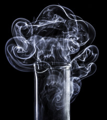 water vapour from a small measuring cylinder