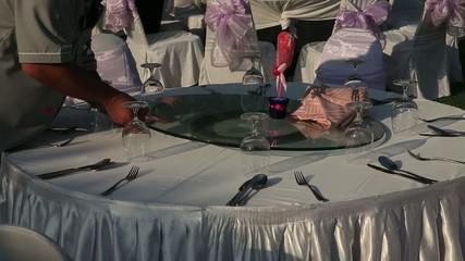 Stock Video Footage Waiter serves, celebration, restaurant