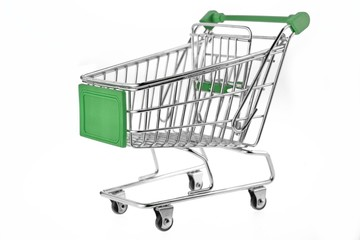 Green Shopping Cart  Isolated On White