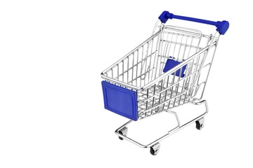 Blue Shopping Cart Isolated On White