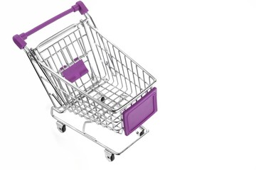Pink  Shopping Cart  Isolated On White