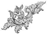 Vintage baroque frame scroll ornament vector - 78185565