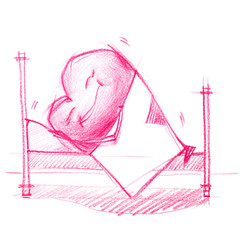 Sleeping Heart. Graphic illustration in Pencil Drawing