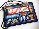 Menopause on the Display of Medical Tablet. poster