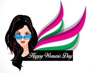 happy woman's day background with vector women cartoon