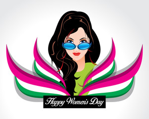 happy woman's day background with wave