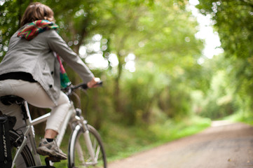 woman in bicycle