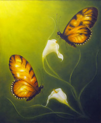 beautiful oil painting on canvas of a butterfly fying towards a