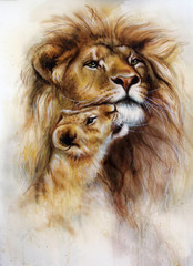 beautiful airbrush painting of a loving lion  and her baby cub