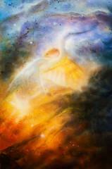 Bird  Heron in beautiful space airbrush paintin on canvas