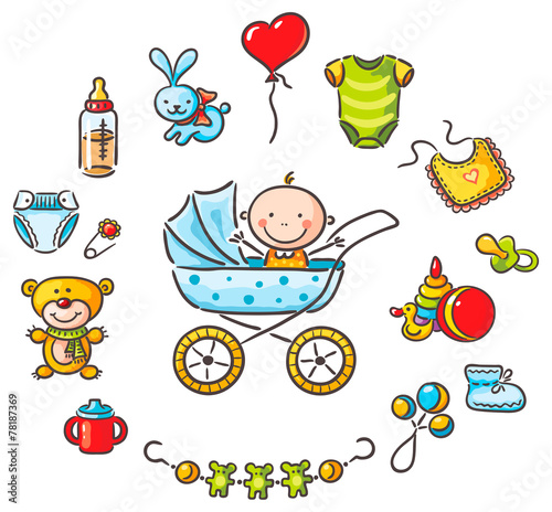 Baby in a baby-carriage with baby things - 78187369