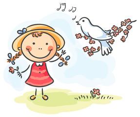 Little girl and bird's