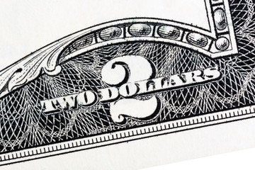 American money, Two dollar bill close-up. Isolated.