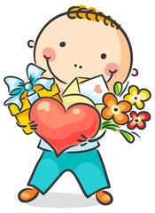 Boy with a heart, flowers and present